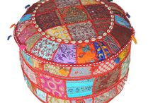 Poufs and Ottomans / Indian patchwork Poufs and Ottomans in round and square shapes.