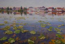Nénuphars - peintures de Michèle Ratel / Nénuphars en bord de Seine à Poses.  Peintures à l'huile de Michèle Ratel