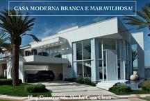 Casa Moderna Branca e Maravilhosa! Fachada, Interior e Projeto!!! / Veja + Inspirações e Dicas de decoração no blog!  www.construindominhacasaclean.com