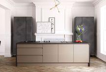 Metallic Kitchen Doors / Contemporary Kitchens featuring Metallic feature doors