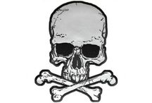 Reflective Biker Patches / These patches have been embroidered over highly reflective fabric. Be seen with some of our reflective patches. Be a smart rider and sew on a reflective patch on to your leather jacket. Here at TheCheapPlace.com we have a great selection of reflective skulls, lightning bolts, even reflective blank patches which you can use as strips on your sleeves. All our reflective patches come with iron on plastic backing and embroidered die cut black borders. Be seen at night with our reflective emblems. / by The Cheap Place