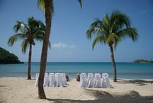 Weddings at Carlisle Bay / A Caribbean beach wedding on Antigua can be as intimate or grand in scale as you like, from booking out the entire resort for family and friends, to a simple ceremony on the sand for the couple at the start of their vacation. #Antigua #Weddings #Wedding