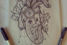 Tatoos, draws:')