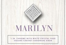 Marilyn / Wisdom Stone's Marilyn Cabinet Knob adds a charming flair to any cabinet door or drawer. The white crystal pave square boasts elegance while the polished chrome finish brings that classic style. The Marilyn is constructed of cast zinc and includes hardware for easy installation. Includes two #8-32 tpi x 1 in. and two #8-32 tpi x 1.5 in. screws Durable chrome plating mirror polish finish Cast zinc construction Can be used for cabinetry or furniture drawers and doors