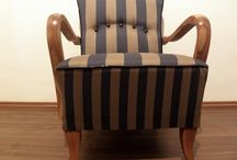 Poirot Rumba / Striped Art Deco armchair, full restored
