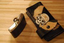 Veg tan leather bikers wallet