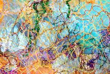 Anita Bell - Stitch / Imaginary landscapes, inspired by skies, created using painted papers and free machine and hand embroidery.  www.anitabellpaperworks.com