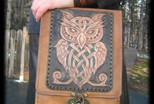 Leather owl bag.