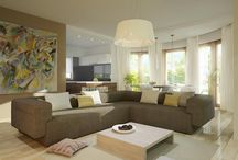 Aranżacja dalonu dla wybranych projektów domów / Przykładowe, najlepsze aranżacje wnętrz salonów dla naszych projektów.