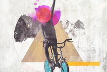 collage mens-fiets