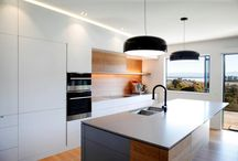 Big white kitchen / Art Oak veneer combined with white paint finish. Integrated LED light. BORA Cooktop. Design and Workmanship - Klaus Todt, Living Design