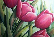 tulipanes pintura al oleo
