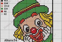 Clowns borduren