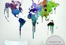 MAPA MUNDO / A Casa D´art oferece uma vasta gama criativa de Mapas Mundo. Personalize qualquer sala ou escritório com estes incríveis Mapas Mundo.