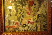 scandale / collage et peinture acrylique vernis encadré