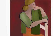 Seated women.   Digital works / MY work.IPad paintings