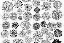 handgezeichnete Blumen