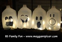 $5 Family Fun - Freight Night / $5 Family Fun - Freight Night  Total Activity Cost: $5  These spooktacular milk jug ghosts and edible bones are both frighteningly easy and delicious.  See these and more $5 Family Fun ideas at www.megganspicer.com & www.facebook.com/megganspicer