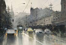 zbuchvich Igor strada trafficata sotto pioggia