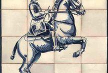 Chevaux - scène équestre Azulejos / Les chevaux sont un thème récurrent dans les azulejos.