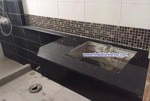 หินแกรนิตดำเกล็ดทอง ติดตั้งงานท็อปห้องน้ำ / งานติดตั้งหินแกรนิตดำเกล็ดทอง  งานท็อปห้องน้ำเเละท็อปอ่างอาบน้ำ