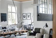 #Industrial mix / Industrial furniture with rustic metal, factory style lighting, hammered wood and enamel. Branded wood