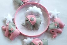 Pink and grey elephant pattern