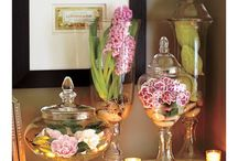 Flowers with glass / Flowers and glass