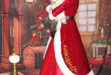 Mrs Santa Claus dress / costume / Muriel assistante du Père Noël / French Mrs Santa Claus  Chanteuse et conteuse