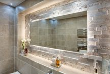Luxury main bathroom project by Bathrooms by Ryan Waine / A 1920's spin on a modern bathroom. Finished beautifully with a showstopping @porcelanosa feature tile and led back-lit mirror wall.