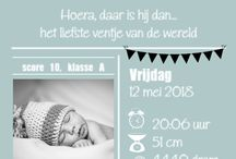 Trend: Typography / Birth announcements where the theme is mainly related to the formatting of the text. Including the format of the letters, line spacing and whitespace.
