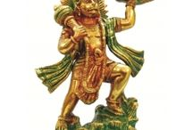 Lord Hanuman Brass Statue / In Hindu mythology, the monkey commander of the monkey army. His exploits are narrated in the great Hindu Sanskrit poem the Ramayana
