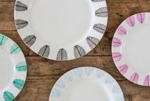 Assiettes en porcelaine Blanche décorées main