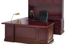 Traditional Style Office Furniture - OS 900 Series / The OS 900 Traditional Collection offers traditional veneer workspace solutions to fit any budget. Styled in a beautiful mahogany finish and stunning inlay top accented with antique brass pulls.