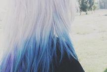 Dip dye and dyed hair-