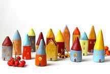 clay miniature houses