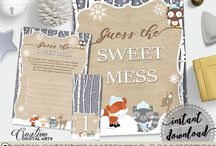 Baby Shower Products in Winter Woodland Theme, Invitations, Games, Decorations And More / Hi, thank you for visiting this beautiful baby shower board with products in Winter Woodland theme. Here, you'll find different invitations, games and activities, decorations and more with over 40 products in this theme.