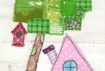 Appliqued and patchwork houses