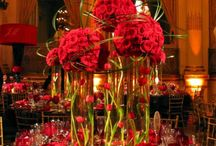 RED decorations/centrepieces/set up