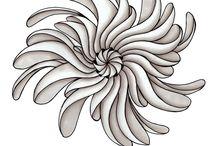 Zentangle - natuur / Deze zentangles kun je gebruiken om natuurlijke voorstellingen te maken, bomen, planten, dieren, vogels etc....