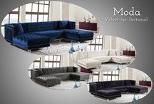 The Moda Collection / -MERIDIAN FURNITURE-  Its time to relax in your favorite place with the Moda Sectional.  The DOUBLE chaise makes it a great for everybody to unwind and enjoy!