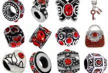 July Charm Bracelet Beads / Ruby Red Birthstone, European Style Charm Bracelet Beads