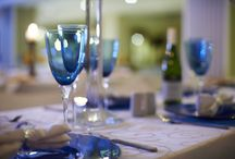 Blue Glass sets for your Event / Matching sets of Blue Glasses and plates.