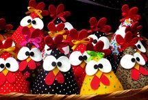 Chickens,Galinhas de Pano, Biscuit, Feltro... / by Cris Toledo