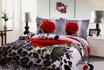 Free Shipping Red Rose with Black Leopard Skin Prints Bedding Sets Quilt/Duvet Cover Sets Queen Comforter