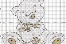 Cross stitch teddy and etc