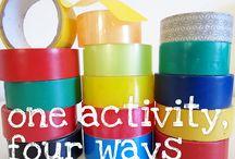 Material - lepící páska / Aktivity a výrobky z lepící pásky pro malé děti
