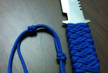 PARACORD WRAPPING A KNIFE HANDLE.
