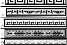 greek key rug drawing
