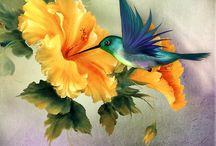 peintures fleurs et oiseaux